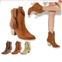 Wholesale Cheap Open Toed Heels - Wholesale-Free shipping New Fashion Women Chunky High Heel Tassel Cowgirl Western Ankle Boots Cheap On Sale Wholesale large size 34-43