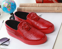 Wholesale Snake Skin Men Shoes - Men New Fashion Casual Shoes Medusa Red Snake skin Leather Low-top Men Flats Luxury Brand Leisure Sneakers Original Box Size 39-46