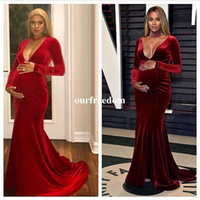 Wholesale Hot Dresses Pregnant Women - 2017 New Sexy V Neck Velvet Prom Dresses Long Sleeve Mermaid Formal Occasion Evening Dresses pregnant woman Party Gown Custom Made Hot Sale