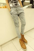 Wholesale-Mens-Harem Jeans 2015 neue stilvolle Fashion Tropfen männlich Baggy Low Crotch dünn Hip Hip Jeans Herren Jeanshosen