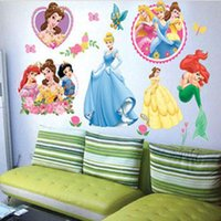 Wholesale Princess Room Decor - Princess Home Decor art wall stickers for kids rooms child love diy family decoration vinyl poster mural bathroom mirror decals