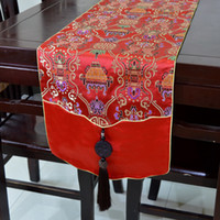 Wholesale Christmas Decoration Patchwork - New Style High Grade Luxury Patchwork Jade Table Runner Elegant Christmas Table Decoration Chinese style Silk Brocade Tea Table Cloth
