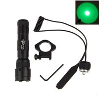 Wholesale Green Led Tactical Flashlight - Hunting Green Light UltraFire WF-502B 1-Mode LED Tactical Flashlight Torch Mount Remote Pressure Switch Rifle Gun Rail Lamp Free Shipping