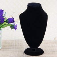 Wholesale necklace bust stand - 170*100mm Small Black Velvet Bust Necklace Jewelry Display Stand,Showcase Counter Table Fashion Jewelry Display Stand #95192