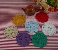 handgefertigte häkeltücher groihandel-handgemachte gehäkelte Deckchen Vintage Multi-Color Blume, Spitze häkeln Deckchen Tasse Matte Vase Matte Untersetzer 10cm / 4