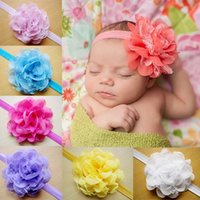 Wholesale Europe Headbands - Hot Selling Children Infant Floral Headbands Europe Lace Chiffon Baby Headbands Accessories New Born Baby Lace Head Bands 10Colors UN009