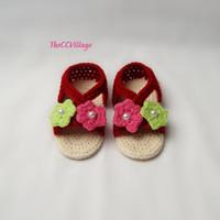 Wholesale babies handmade sandals for sale - Group buy Red dark baby girl shoes crochet baby shoes handmade crochet baby sandals with pink and green flowers M custom