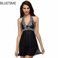 Wholesale Lace Halter Nightgown - Wholesale- Embroidery Sexy Night Dress Sleepwear Halter Nightgown Nightdress Lace Lingerie Woman Underwear Nightwear G-String Women XXL 20A