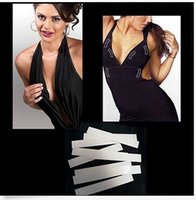 Wholesale Double Bra - Lady Body Non Exposure Strip Double Sided No Bra Dress Invisible Fashion Tapes 20pcs pack 10packs lot Free shipping