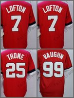 Новый 1978 Throwback Jerseys, 99 Ricky Vaughn 7 Kenny Lofton 25 Jim Thome Stitched Name Logos Red