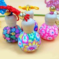 Wholesale Glass Bottle Wooden - 15ml Beautiful Fimo Clay Flower Perfume Bottle with Wooden Lids Portable Empty Essential Oil Vials Color Chinese Knot Pendant Decoration