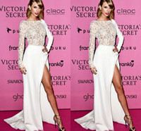 Wholesale Long Sleeve Prom Dreses - 2015 Taylor Swift Celebrity Dresses Long Sleeves White Prom Dreses Crew A-line Side Slit Court Train Evening Gowns Beaded Formal Wear Satin