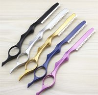 Wholesale Free Style Rights - Colorful Baking Finishing Thinning Razor Professional Stainless Steel Hair Cutting Knife 5 Colors New Style Free Shipping