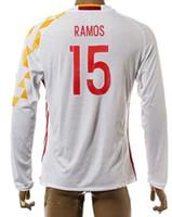 Wholesale Spain Long Sleeve - Thai Quality Customized 15-16 New season men Spain 19 DIEO COSTA Long Sleeve Soccer Jerseys Shirts,1 CASILLAS Cheap 15 RAMOS Soccer Wear