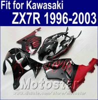 Wholesale 1996 kawasaki ninja plastics resale online - Plastic bodywork set for Kawasaki Ninja ZX7R fairings ZX R red flames in black fairing body kit AQ3