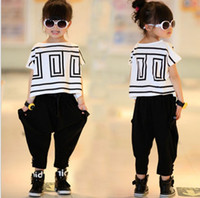 Wholesale Harem Girl Set Pants - Big Girls Summer Sets Outfits Bat Sleeve Loose T-shirt Tops+Black Harem Pants 2pcs Kids Children Clothing Fashion Cute Girls Casual Suits