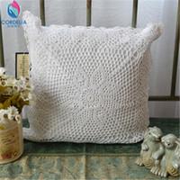 ingrosso copertine coreane di cuscini-Wholesale- Federa coreana di alta qualità naturale cotone pizzo all'uncinetto federa con ritaglio fiore cuscino cuscino d'epoca