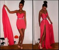 Wholesale Long Chiffon Sweetheart Dress - 2017 The Most Popular Sweetheart Neckline Rhinestone Waist High Slit Long Chiffon Mini Skirt Red Prom Dress