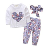 Wholesale toddlers girls clothes for sale - Newborn Clohting Girls Floral Outfits Toddler Long Sleeve T Shirt Pants Headband pc Suits Infant Clothes set