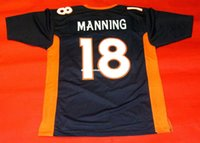 Pas cher rétro # 18 PEYTON MANNING CUSTOM JERSEY Hommes Couture Throwback Big And Tall 4XL 5XL À vendre Maillots de football