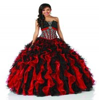 Wholesale Strapless Dress Puffy Skirt - Snow white quinceanera dresses with crystals fitted on the bodice black and red ruffles shinny sequins on the puffy ball gown skirt BO4611