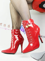 "Wholesale Lace Up Material Heels - Wholesale-Extreme high heel 12cm new arrival PU material Unisex 5"" Sexy fetish High Heel lace up Single Sole sex Ankle Boot with Buckle"
