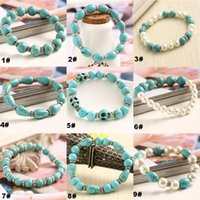 Wholesale Turquoise Jewelry Beads For Sale - Top Grade Rushed Turquoise Bead Bracelet Hot Sale Fashion Strands Charm Bracelets for Women Girl Men Jewelry Wholesale Free Ship 0256WH