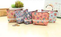 canvas string bag 2018 - Wholesale- Sweet NEW 5Colors - Floral Coin BAG , 10CM Approx. Canvas Coin Purse Wallet Case ; Pocket Wallet Pouch Women Handbag Holder