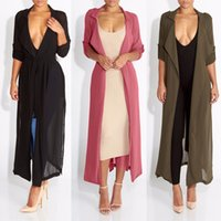 Wholesale Summer Trench Coat Women - Wholesale- 2017 Spring New Fashion Casual Women's Trench Coat Chiffon Long Outerwear Summer Wrap Loose Clothes For Lady Good Quality