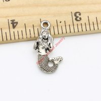 Wholesale gold mermaid jewelry online - 20pcs Hot Sale Antique Silver Tone Mermaid Charms Pendants for Jewelry Making DIY Handmade Craft x11mm A217 Jewelry making DIY