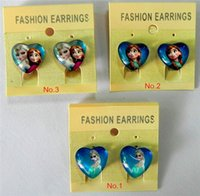 Wholesale 3 patterns choice Frozen Earrings clip Girl glass Earrings clips with Heart Frozen characters Earrings clip on Christmas party gift E0207