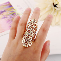 Aussage Nägel Mode Kaufen -Fashion Icon Exquisite Retro Kristall Diamant ringe hohlen geschnitzten ringe Finger Nagel Ringe frauen erklärung schmuck 2 farben W934