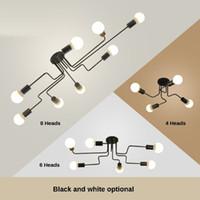 ampoules led pour luminaires achat en gros de-Vintage Pendant Lights Multiple Tige En Fer Forgé Plafonnier E27 Ampoule Salon Lamparas pour Luminaires