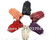 Wholesale Sheepskin Scarves - Wholesale-Wholesale lady gaga Big butterfly glove,genuine leather glove,sheepskin rivet glove, &oem