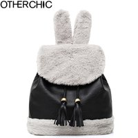 OTHERCHIC Inverno Black Tassel Mulheres Mochila Fringe Fur Quality Drawstring Cute Backpacks Teenage Girls Casual Daypack L-7N11-05