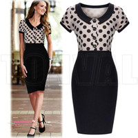 Vestidos Polkas Pas Cher-2015 Nouvelles Femmes D'été Casual Dress Dames Poupée Col Polka Dot Impression Vestidos Bureau OL Vêtements de Travail Élégant Moulante Party Robes OXLT713