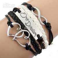 Wholesale Items One Direction - Fashion handmade black I love One Direction 1D infinity charm bracelets and bangles jewelry gift items for women