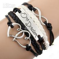 ingrosso un senso braccialetto d'amore infinito-Moda fatto a mano nero I love One Direction 1D infinity charm bracciali e braccialetti gioielli articoli da regalo per le donne