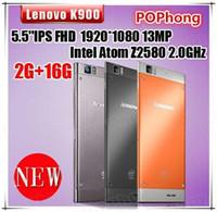 Wholesale otg usb lenovo - free shipping Original Lenovo K900 Intel Atom Z2580 Mobile Phone 5.5 Inch 1920x1080 2G RAM 16G ROM 13.0MP Dual Camera