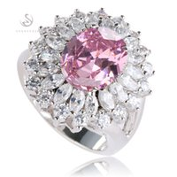 Wholesale Pink Wedding Ring Sets - Romantic Pink CZ Cubic Zirconia fashion Vintage Silver Plated Ring R461 sz#6 7 8 9 cute