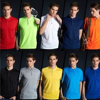 Compra Camicie Casual In Poliestere Sottile-NOVITÀ TOP Polo da uomo Magliette casual slim fit tinta unita manica corta polo shirt in poliestere tees colletto a risvolto polo maschile tees S-4XL