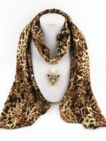 Wholesale Leopard Necklace Scarf - New Leopard chiffon scarves pendant gold pendant necklace leopard head scarves 165 * 45 cm free shipping