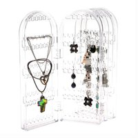 Wholesale Clear Plastic Studs - Acrylic Clear Jewellery Ear Studs Earring Display Stand Holder Folded Show Rack MD281
