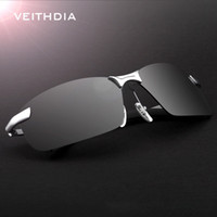 Wholesale Frameless Eyeglass Frames - VEITHDIA 2018 New Brand 3043 Polarized Sunglasses Men Aluminum Alloy Frame Sunglass Driving Glasses Goggles Eyeglasses and accessories