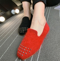Wholesale Scoop Shoes - Korean spring new rivet Sable hair hair stretched cotton scoop toe ballet shoes shoes shoes shoes boat shoes Lok Fu shoes