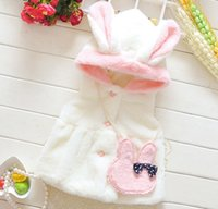 Wholesale Waistcoats For Infants - baby girls clothing girls winter coats children animal design waistcoat infant pink fleece fur vest coat for kids girl boutique outwear 1pc