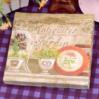 Wholesale Wholesale Antiques Online - 100% Virgin Wood Napkin Antique Flower Paint Christmas Party Disposable Placemats Tissue 2 layers Online SD912