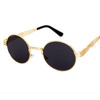 gotik yuvarlak güneş gözlüğü toptan satış-Toptan-Yeni vintage retro gotik steampunk ayna güneş gözlüğü altın ve siyah güneş gözlüğü vintage yuvarlak daire erkekler UV gafas de sol adam