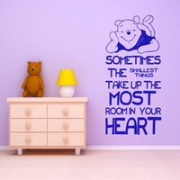 Wholesale Baby Wall Stickers Winnie - Winnie The Pooh Quote Wall Sticker Cartoon Wall Decals for Baby Nursery