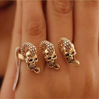 Wholesale Two Finger Skull Ring - Wholesale-European And American Popular Retro Exaggerated Skeleton Skull Rings Snake Bicyclic Rings Two Finger Rings-J156
